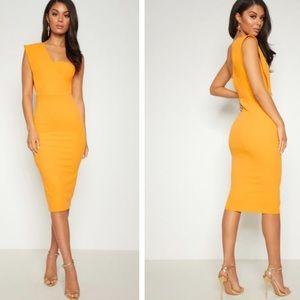 Yellow One Shoulder Draped Midi Dress